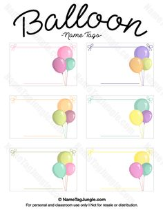 Free printable balloon name tags. The template can also be used for creating…