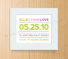 Modern Typography Birth Announcement Print  by mosieposies on Etsy, $20.00