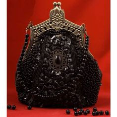 Antique Black Gothic Victorian Beaded Goth Purses Clutches Bag Bags SKU-11408004