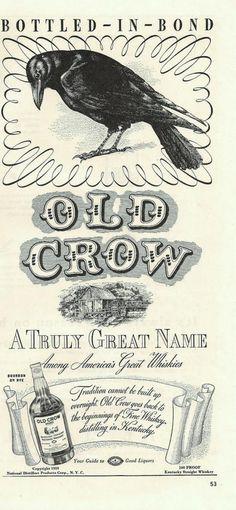 Old Crow Sour Mash Bourbon Whiskey - 1939 ad