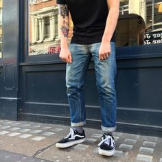 My scratch-pad for inspiration Denim Vans, Denim Boots, Denim Jeans Men, Blue Jeans, Raw Jeans, Raw Denim, Old Man Fashion, Mens Fashion, Edwin Jeans