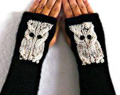 Knit Fingerless Gloves Knit Gloves Knit Arm Warmers Fingerless Mittens Knit Hand Warmers Gauntlets Knit Wrist Warmers Knit Owl Gloves Black