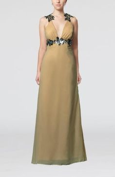 V-Neck Sexy Evening Gown - Order Link: http://www.theweddingdresses.com/v-neck-sexy-evening-gown-twdn6813.html - Embellishments: Appliques; Length: Floor Length; Fabric: Chiffon; Waist: Natural - Price: 129.69USD