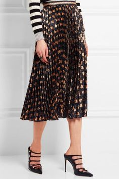 Gucci - Pleated Printed Lamé Skirt - Black - IT42