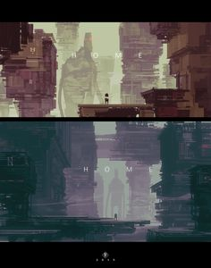 ArtStation - - H O M E -, by Eduardo GarcíaMore concept art here. Matte Painting, Storyboard, 2d Game Background, Urban Concept, 2d Game Art, Futuristic City, Game Concept Art, Layout, Costumes