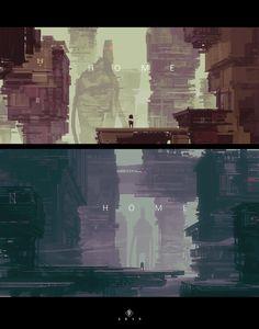 ArtStation - - H O M E -, by Eduardo GarcíaMore concept art here. Illustrators, Retro Futurism, Game Background Art, Game Art, Art Background, Futuristic City, Illustration Art, Art, Matte Painting