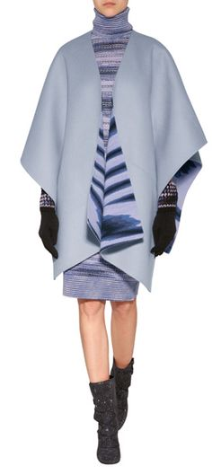 Styled in a pretty shade of periwinkle, thís luxe cape from Missoni features a bold printed reverse and dramatic drape #Stylebop