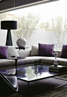 Interiors | Contemporary Design - Time for an update in lounge colours - purple and grey!
