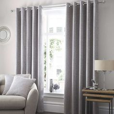 Althorp Silver Lined Eyelet Curtains | Dunelm