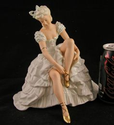 "ANTIQUE GERMAN PORCELAIN FIGURINE WALLENDORF SCHAUBACH BALLERINA DANCER LG. 8"" | eBay"