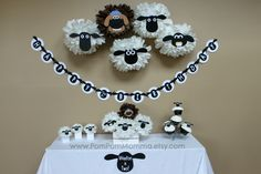 Shaun the Sheep Inspired Party Poms. - Like the idea of black and white as well!