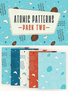 Atomic Patterns Pack 2 -   This pack features 5 versions of one of my original mid century modern style pattern. This download will include 5 high resolution tileable JPEG files for print that you can use for scrapbooking, bookbinding, or really any kind of papercraft. By Ariel Tyndell Design. $2 #affiliatelink