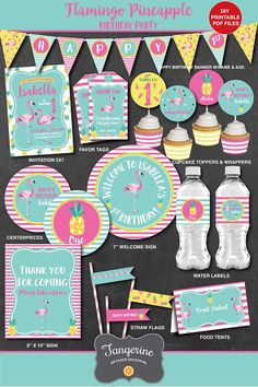 This flamingo pineapple birthday decoration package is such a fun birthday theme! Save over 40% when you purchase this flamingo birthday party package (savings is already built into package pricing.) This birthday collection will come to you as high resolution PDF files which can