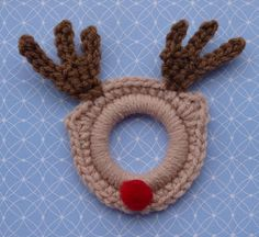 Whiskers & Wool: Rudolph the Red Nose Ring Ornament - cool for napkin rings for xmas eve :)