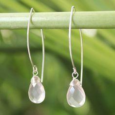 NOVICA .925 Sterling Silver and Faceted Rose Quartz Dangle Earrings, 'Sublime Blush' (5 cttw)