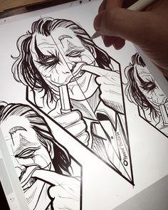 Joker Drawings, Dark Art Drawings, Cool Drawings, Tattoo Sketches, Tattoo Drawings, Drawing Sketches, Drawing Ideas, Joker Pics, Joker Art
