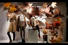Retail design. House of Fraser - Autumn Leaves visual merchandising by Millington Associates.