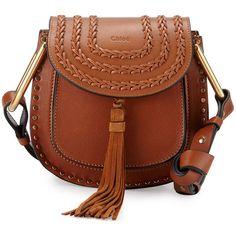 Chloe Hudson Stud Leather Mini Saddle Bag (39,955 MXN) ❤ liked on Polyvore featuring bags, handbags, shoulder bags, caramel, chloe shoulder bag, studded leather purse, studded purse, studded shoulder bag and brown handbags