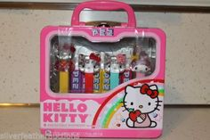 NIB-Hello-Kitty-Metal-Lunchbox-Collector-Edition-4-Crystal-Pez-Sanrio-Dispensers