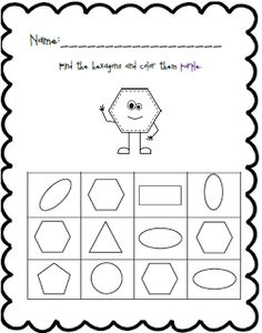 Shape and Color Practice Pre K Worksheets, Shapes Worksheet Kindergarten, Shapes Worksheets, Shapes For Toddlers, Homeschool Math, Homeschooling, Craft Activities For Kids, Kid Crafts, Toddler Sheets