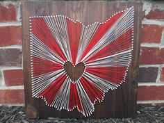 String Art State, Any State, Ohio State Buckeyes, Home is Where the Heart Is, Nail and String Art by AJLyonsDesigns on Etsy Fun Crafts, Diy And Crafts, Arts And Crafts, Handmade Crafts, Buckeye Crafts, Football Crafts, Nail String Art, Ohio State Buckeyes, Buckeyes Football