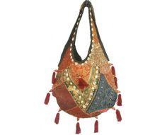 Bolso Boho Chic naranja bordado a mano en patchwork , con antiguas telas de la India y Pakistán.