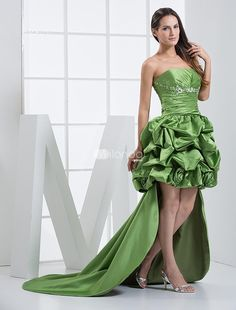 Green Panel Train A-line Strapless Applique Satin Prom Dress. Train length 20cm. See More Strapless at http://www.ourgreatshop.com/Strapless-C937.aspx