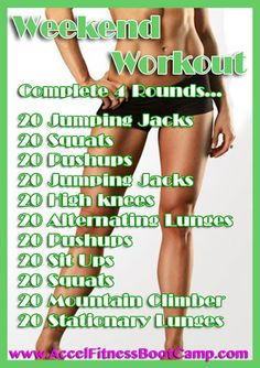 WeeKend Workout - Saturday comes, jump all over this and start burning fat! Good CrossFit-type workout! https://victoriajohnson.wordpress.com