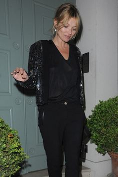 Late Night Lady: Kate Moss went out in London on Saturday.