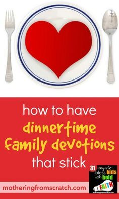 Family dinner is about so much more than the food! It's one of the only regular times we're all together. How can we use that time well? Short dinner devotions, done regularly, add up over time and can make a lasting impact! Read this post for ideas to have dinner family devotions that stick!