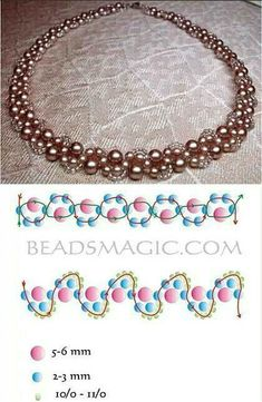 Try this necklace with crystals for large pearls Best Seed Bead Jewelry 2017 Beading Pattern for Beginners! This Pin was discovered by Ана Jewelry Making Tutorials, Beading Tutorials, Beading Patterns, Embroidery Patterns, Beaded Necklace Patterns, Bracelet Patterns, Beaded Bracelets, Stacking Bracelets, Seed Bead Jewelry