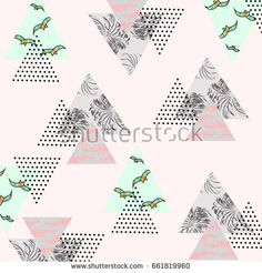 Abstract Summer pattern with tropical palm leaves,flying birds and textured triangles. Triangle with grunge halftone textures. Geometric background in pop art style. Vector illustration.