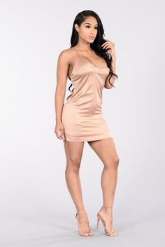 - Available in Gold - Satin - Spaghetti Strap - Slip Dress - Polyester Spandex Sexy Dresses, Cute Dresses, Girl Outfits, Cute Outfits, Dressy Attire, Work Dresses For Women, Gold Dress, Sexy Women, Womens Fashion