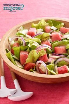 Salade de melon d'eau #recette Watermelon Salad Recipes, Cooking Instructions, Calories, Frozen Desserts, Home Recipes, What To Cook, Original Recipe, Summer Recipes, Healthy Slow Cooker