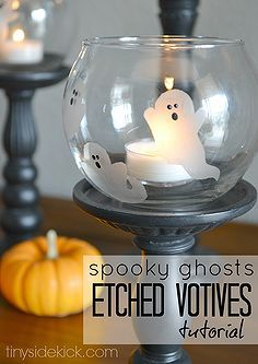 halloween decorations crafts ghost etched votives, halloween decorations, seasonal holiday decor