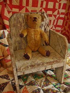 Antique Vintage Primitive Handmade Child's Chair in Old Paint Old Wooden Chairs, Old Chairs, Antique Chairs, Old Teddy Bears, My Teddy Bear, Wooden Projects, Primitive Decor, Rockers, Vintage Children