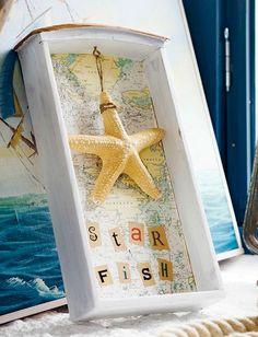 Nautical Map Decor Ideas by Anna Örnberg: http://www.completely-coastal.com/2015/07/nautical-map-decor-ideas-by-anna-ornberg.html Turn a drawer into a shadow box!