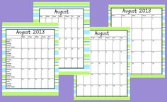 Hanging Out In First!!: Free Calendars and more