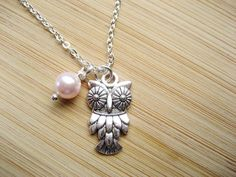 Silver Owl Necklace with Pink Swarovski Pearl. Owl Charm Pendant. Girl's Silver Necklace Gift Idea. Owl Jewellery. UK Seller. Cute Necklace by GlassesChainsByLisa on Etsy