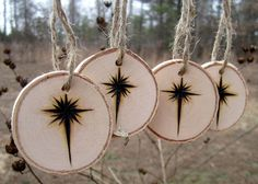 Set of 4 Woodburned Birch Tree Gift Tags by ImaginarySigns on Etsy, $10.00