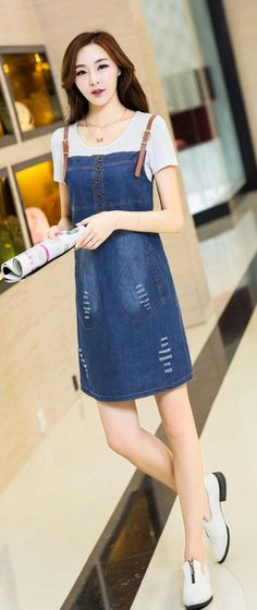 Denim Dress with Suspenders YRB0012