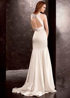 Свадебное платье Vera Wang White новая коллекция, сатиновое, в стиле Великого Гэтсби