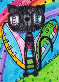 ACEO Original Big Eye Black Cat Angel Over The Rainbow Oil, Pastels, Whimsy Folk #OutsiderArt Relisted   L. Brucato