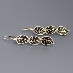 Image of Silver Leaf Trio Earrings