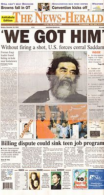 In deposed President of Iraq Saddam Hussein was captured by U. His capture and deposition left a power vacuum in Iraq that led to the formation of Islamic terrorist groups like ISIL. Newspaper Front Pages, Vintage Newspaper, Newspaper Article, History Facts, World History, Front Page News, Saddam Hussein, Newspaper Headlines, Journal