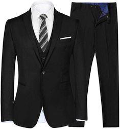 28699e5128d2 iClosam Men's Slim Fit 3 Piece Suit Two Button Blazer Tux Vest & Trousers  at Amazon Men's Clothing store: