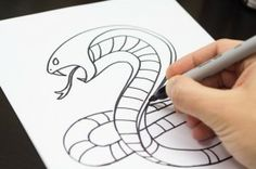 How to draw a wicked cool snake (cobra), just for kids! Drawing Skills, Drawing Lessons, Art Lessons, Art For Kids Hub, Art Hub, Snakes For Kids, Snake Art, Arts And Crafts Projects, Fun Crafts
