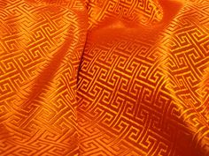Chinese SILK brocade fabric in vibrant orange with by TintinBeads