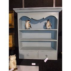 French Country Chic Wall Unit Shelves & Drawers Shabby Chic Distressed Wood