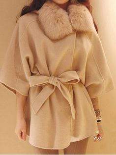 up cycle: Could I do this with my old wool coat??  Beige Long Sleeve Fur Collar Hooded Cap Wool Coat